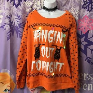 Halloween Orange Bat Light Up Holiday Sweater
